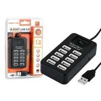 USB Hub 10 PORT USB 2.0 P-1603 black