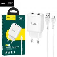 Сетевое зарядное устройство Hoco N7 2USB 2.1A Type-C white