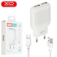 Сетевое зарядное устройство XO L78 2USB 2.4A micro-USB white