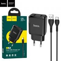Сетевое зарядное устройство Hoco N7 2USB 2.1A Type-C black