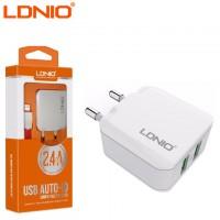 Сетевое зарядное устройство LDNIO A2201 2USB 2.4A Lightning white