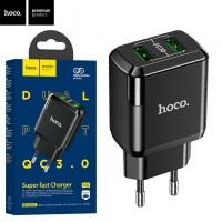 Сетевое зарядное устройство Hoco N6 QC3.0 2USB 3.0A black
