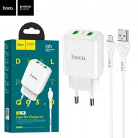 Сетевое зарядное устройство Hoco N6 QC3.0 2USB 3.0A micro-USB white