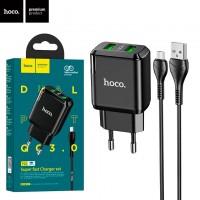 Сетевое зарядное устройство Hoco N6 QC3.0 2USB 3.0A micro-USB black