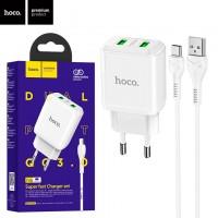 Сетевое зарядное устройство Hoco N6 QC3.0 2USB 3.0A Type-C white