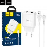 Сетевое зарядное устройство Hoco N7 2USB 2.1A Lightning white