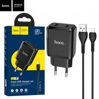 Сетевое зарядное устройство Hoco N7 2USB 2.1A Lightning black