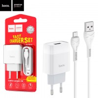 Сетевое зарядное устройство Hoco C72A 1USB 2.1A micro-USB white