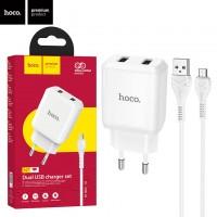 Сетевое зарядное устройство Hoco N7 2USB 2.1A micro-USB white