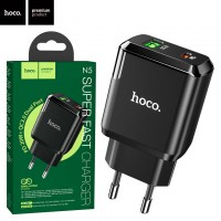 Сетевое зарядное устройство Hoco N5 PD 20W QC3.0 1USB 3.0A black