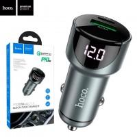 Автомобильное зарядное устройство Hoco Z42 PD 20W QC3.0 1USB 3.0A gray