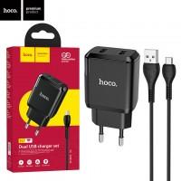 Сетевое зарядное устройство Hoco N7 2USB 2.1A micro-USB black