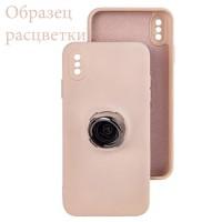 Чехол Silicone Cover Ring 3в1 iPhone XR бледно-розовый