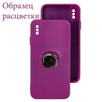 Чехол Silicone Cover Ring 3в1 iPhone XR фиолетовый