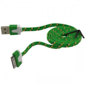 USB кабель iPhone 4S плоский тканевый 1m зеленый в Одессе