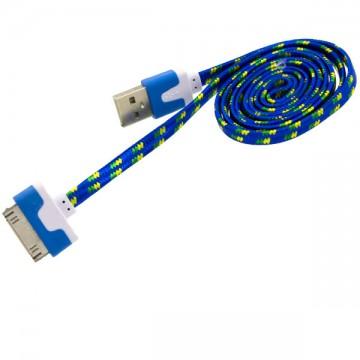 USB кабель iPhone 4S плоский тканевый 1m синий в Одессе