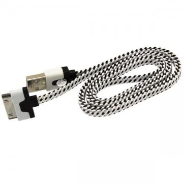 USB кабель для iPhone 4S плоский тканевый 1m белый в Одессе