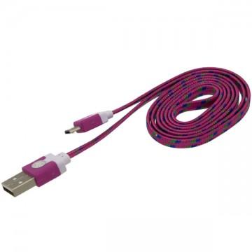 USB - Micro USB шнур плоский тканевый 1m розовый в Одессе