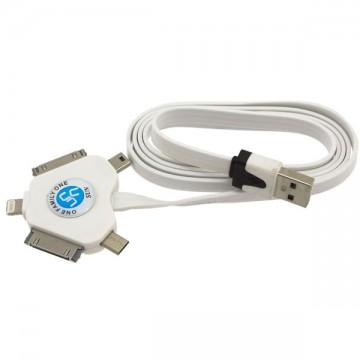 Универсальный USB шнур 5in1 плоский 1m белый в Одессе
