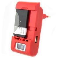Сетевое зарядное устройство Краб CH-969 LCD + USB red