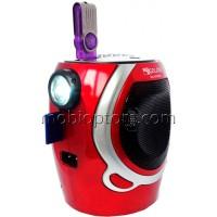 Радиоприемник GOLON RX-902AUT фонарик-USB-SD красно-белый