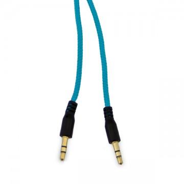 AUX кабель 3.5 M/M в тканевой оплетке голубой 1.5м в Одессе
