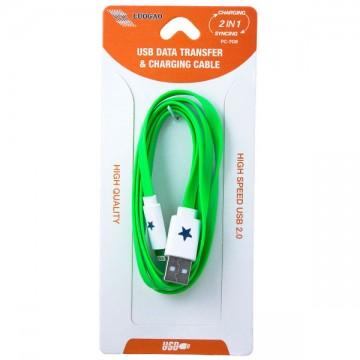 USB - Lightning шнур для iPhone 5S плоский светящийся PC-708 1m зеленый в Одессе