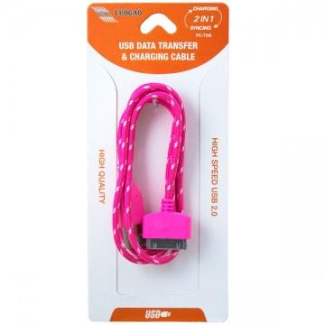 USB - Apple 30pin шнур для iPhone 4S тканевый PC-708 1m розовый в Одессе