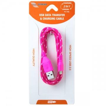 USB - Lightning шнур для iPhone 5S тканевый PC-708 1m розовый в Одессе