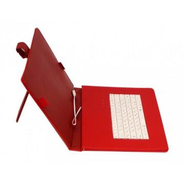 Чехол-клавиатура 10 дюймов зажимы-магнит Micro USB красный в Одессе