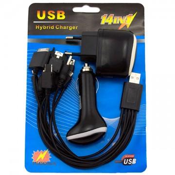 Сетевое+автомобильное зарядное устройство универсальный шнур 14in1 1USB 1.0A black в Одессе