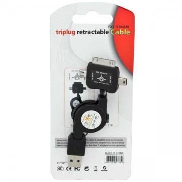 Универсальный USB шнур рулетка 3in1 YXT-020 1m черный в Одессе