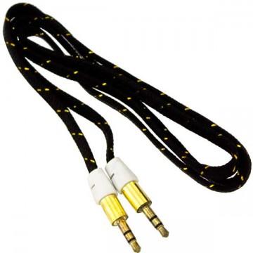 AUX кабель 3.5 M/M 1 метр в тканевый черный в Одессе