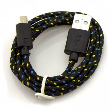 USB кабель Micro USB тканевый 1m черный в Одессе